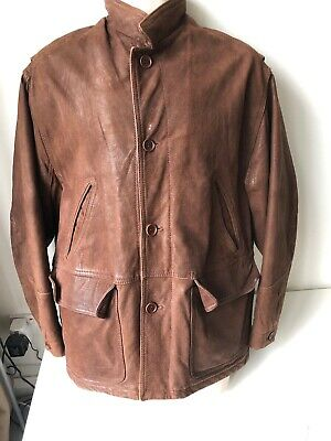 Vintage Harrods brown leather jacket with pockets fully lined