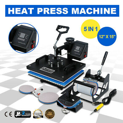 """12""""x10"""" 5IN1 Combo T-Shirt Heat Press Transfer Machine Sublimation Swing Away US"""