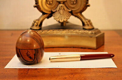 Superb Little Antique Travelling Inkwell, Rosewood Treen, Egg Form