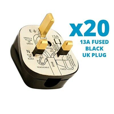20x Standard UK 13A 13 AMP Fused Plug Top Black Mains Household Plugs 3 Pin CEUK