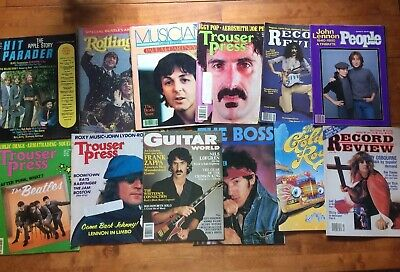 Lot Of 12 Vintage Rock Magazines 70s & 80s Trouser Press Beatles Zappa