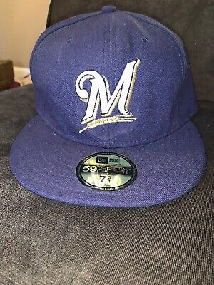buy online 04205 39bb7 New Era Milwaukee Brewers GAME 59Fifty Fitted Hat (Navy) MLB Cap