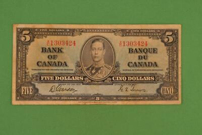 1937 Bank of Canada $5 Five Dollars. Gordon Towers. Ungraded. XC1303424.