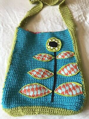 Handmade Knit Crochet Messenger Bag Blue Turquoise Green Vtg Lining