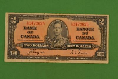 1937 Bank of Canada $2 Two Dollars. Coyne Towers. Ungraded. LR1473625.