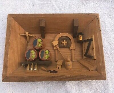 Vintage East German 3D Wooden Shadow Box Picture Diorama Wine Cellar Brewery