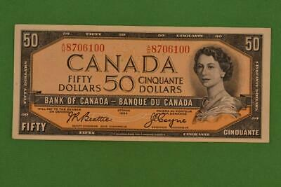 1954 Bank of Canada $50 Fifty Dollars. Beattie Coyne. Ungraded. AH8706100.