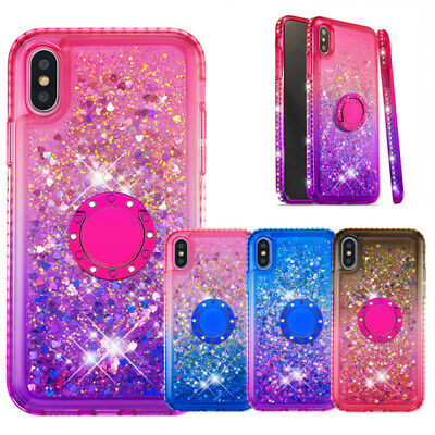 For iPhone Xs Max Xs Xr 8 7 8/7 Plus Liquid Glitter Cute Ring Stand Phone Case