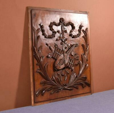 French Antique Louis XVI Style Walnut Wood Carved Panel with Music Theme