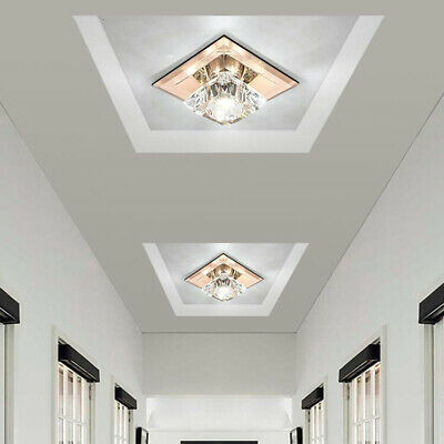 5W LED Ceiling Light Fixture K9 Crystal Lamp Brown glass Hallway Decor Lighting