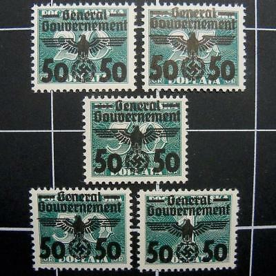 German WW2 General Gouvernement stamp set-1938/1939-MNH-Germany/occupied Poland