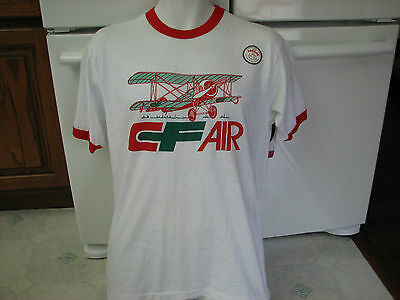Consolidated Freight Air  CF ringer t shirt 1970s vintage Old stock unused new