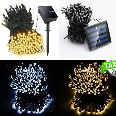 20-500 LED Solar Battery Powered String Fairy Lights Garden Christmas Outdoor UK