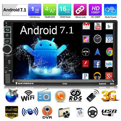 """Android 7.1 7"""" Double 2Din Quad Core GPS Navi WiFi Car Stereo MP5 Player AUX Cam"""