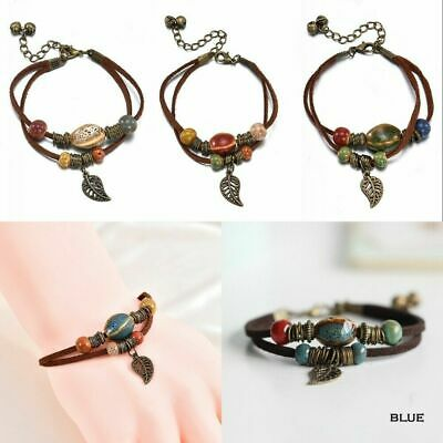 Vintage Women Men Boho Double Layer Rope Leather Leaf Beads Bracelet Jewelry