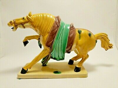 Figurine Sculpture Glazed Pottery Porcelain War Horse Asian Majolica? Chinese?