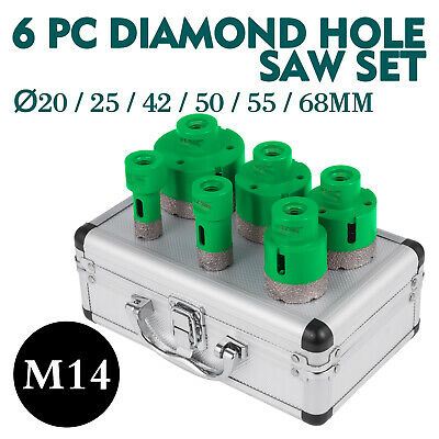 6PCS Diamond Holesaw Set 20/25/42/50/55/68mm M14 Drill Core tiles M14 thread