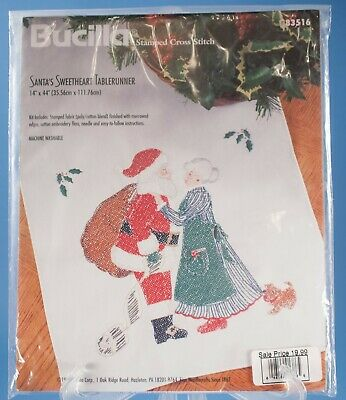 Bucilla Stamped Counted Cross Stitch Santa's Sweetheart Table Runner 83516 NIP