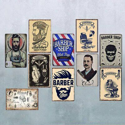 Vintage Barber Shop Decoration Art Haircut And Shave Beard Tin Signs Metal Plate