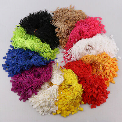300Pcs Polyester Hang Tag Rope String Snap Lock Pin Fastener Hook Ties Clothing