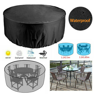 Garden Patio Furniture Cover Waterproof Round Outdoor Rattan Chairs Table Cover