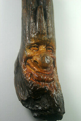 Hand Carved Wood Spirit Old Mountain Man Wizard Hobbit gothic sculpture carving