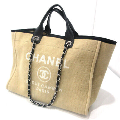 ac122945db03 CHANEL Deauville 2way Chain Shoulder Tote Hand Bag Canvas Beige A66941 Used