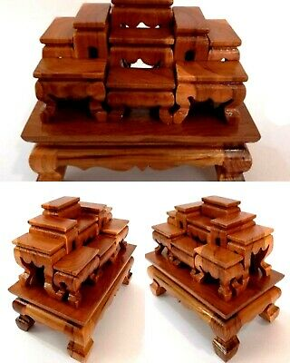 Hand Craft Set of 9 Mini Altar Tables Wooden carved Worship Thai Budda Amulet