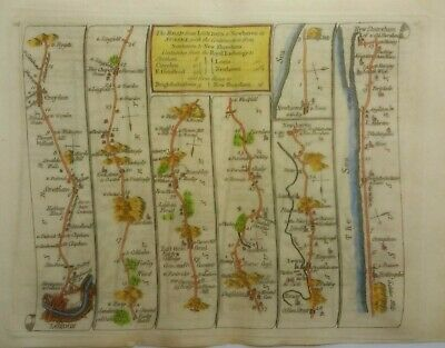Antique Road Map of London to Newhaven by Thomas Kitchin 1767