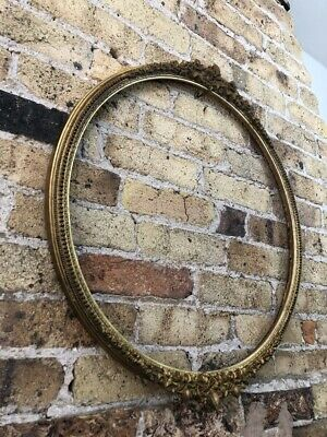 Antique Round Gold Gilt & Gesso Ornate Detail Picture Frame, c Victorian, Large
