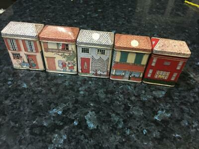 Vintage Miniature Tin Houses/Shops Collection - Spice Tins (5) Rare - Buy Now