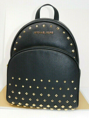 3c916fd87bc6 New Michael Kors Abbey Black Leather Studded Stud Gold Zip Medium Backpack