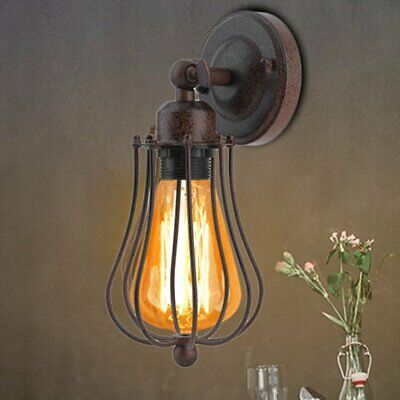Vintage Antique Industrial Wall Light Rustic Wall Sconce Lamp Iron Cage Copper B