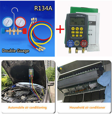 Air Conditioning Fluoride Meter Tool Double Guage Valve Fluid Pressure R134A Set