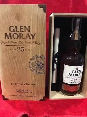 Whisky Glen Moray 25 Years rare vintage  Limited Edition Distilled In 1988