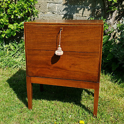 Regency Fall Front Small Mahogany Inlaid Cabinet C1820 (Bedside Table)