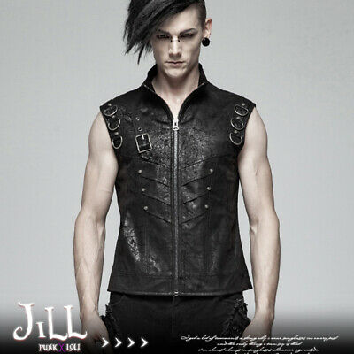 Punk rock Honor of heroes python skin faux leather motorcycle vest【JPWY990】