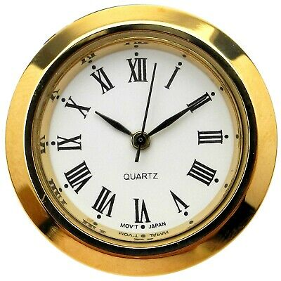 New Quartz Clock Insertion Movement Brass 36mm Diameter Roman Numerals - CM545