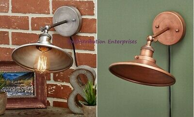 Rustic Wall Lamp Sconce Vintage Metal Copper or Silver Farmhouse Industrial NEW