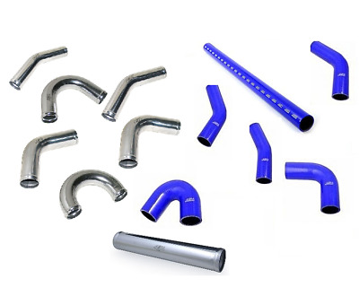 Aluminium Universal Alloy Intercooler Pipe Elbow & Blue Silicone Hose Pipework*