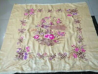 """Antique Chinese Qing Dynasty Hand Embroidered Silk Size 54""""x48(Cm137x122)"""