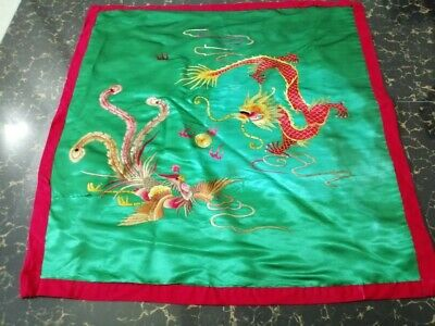 Antique Chinese Qing Dynasty Hand Embroidered Dragon Wall Panel Size cm76by76