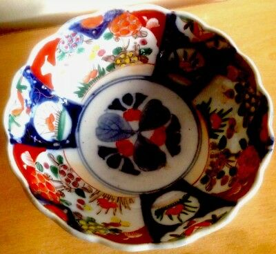 Japanese Imari 19th Century Raised Foot Bowl Hand Decorated with Scalloped Rim