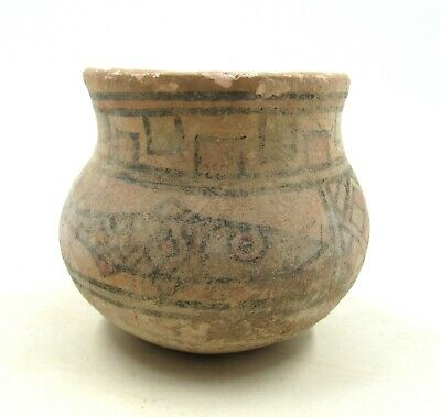 AUTHENTIC ANCIENT iNDUS VALLEY DECORATED TERRACOTTA JAR W/ FISH - L718