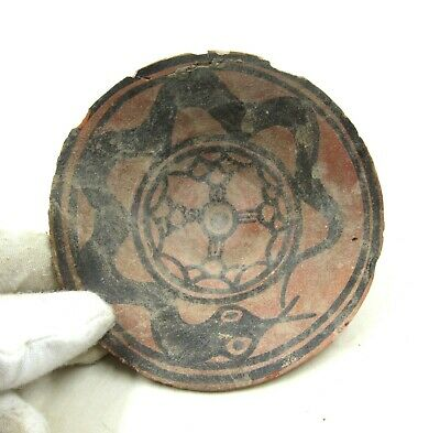 AUTHENTIC ANCIENT iNDUS VALLEY DECORATED TERRACOTTA BOWL W/ SNAKE - L720