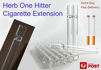 One Hitter Smoking Pipe Cigarette Extension Tight Glass Tube Clear Herb Tobacco