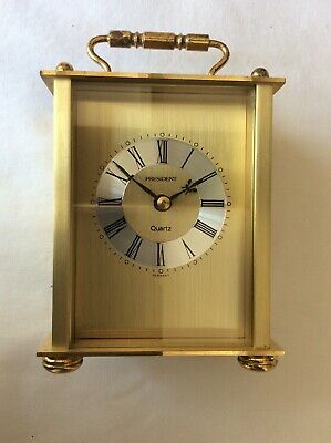 Vintage President Brass Quartz Carriage Clock - Appox Height with Handle 14.5cm