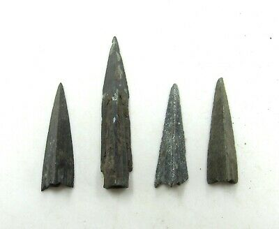 Authentic Lot Of 4 Ancient Scythian Bronze Arrow Heads - J199