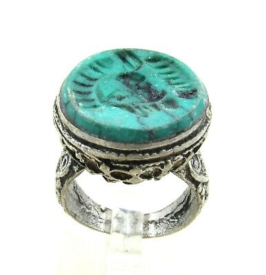 Authentic Post Medieval Era Silver Ring W/ Intaglio Stone Bust - J210