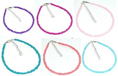 """Handmade Opaque Seed Beaded Ankle Bracelet Anklet OSA 9"""" + Extension"""